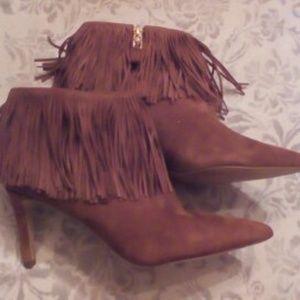 Sam Edelman Suede Fringe High Heel Boots Size 7.5